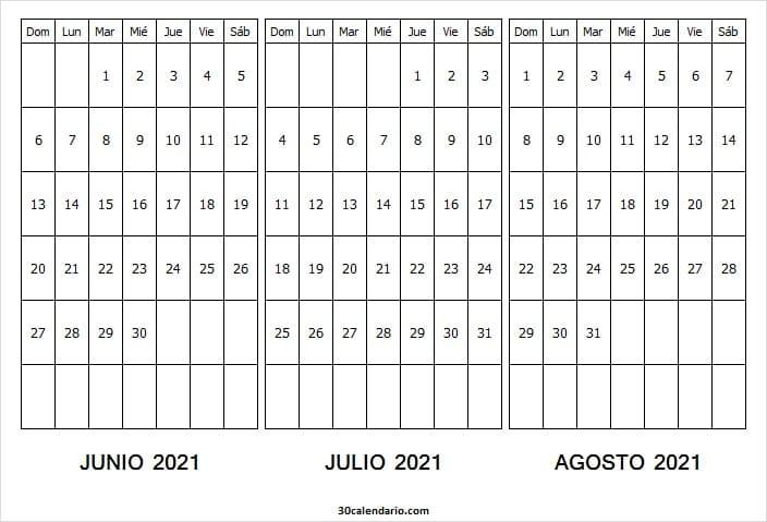 Calendario Junio a Agosto 2021 En Chile