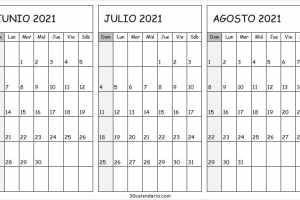 Calendario Junio a Agosto 2021 Para Imprimir