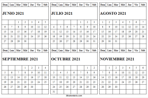 Calendario Junio a Noviembre 2021 Blanco