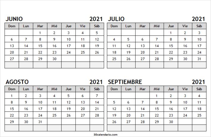 Calendario Junio a Septiembre 2021 Blanco