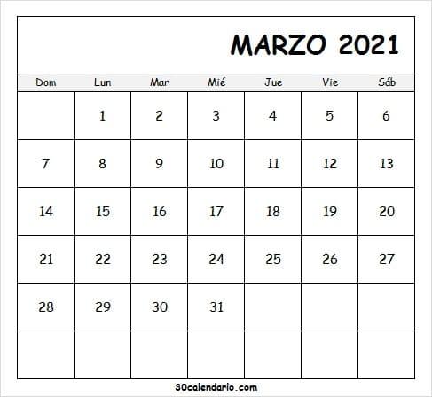Calendario Marzo 2021 Escolar