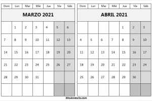 Calendario Marzo Abril 2021 Blanco