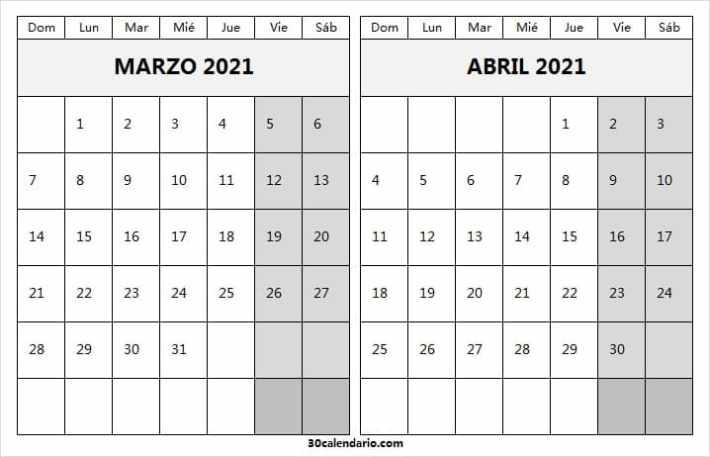 Calendario Marzo Abril 2021 Blanco