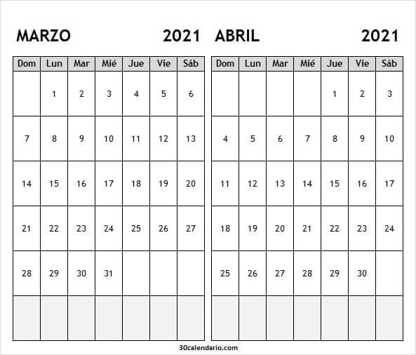 Calendario Marzo Abril 2021 Excel