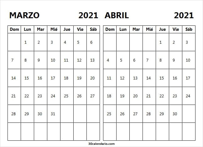 Calendario Marzo Abril 2021 Mensual