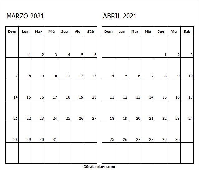 Calendario Marzo Abril 2021 Pdf