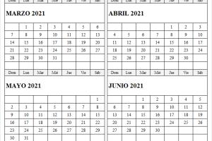 Calendario Marzo a Junio 2021 En Chile