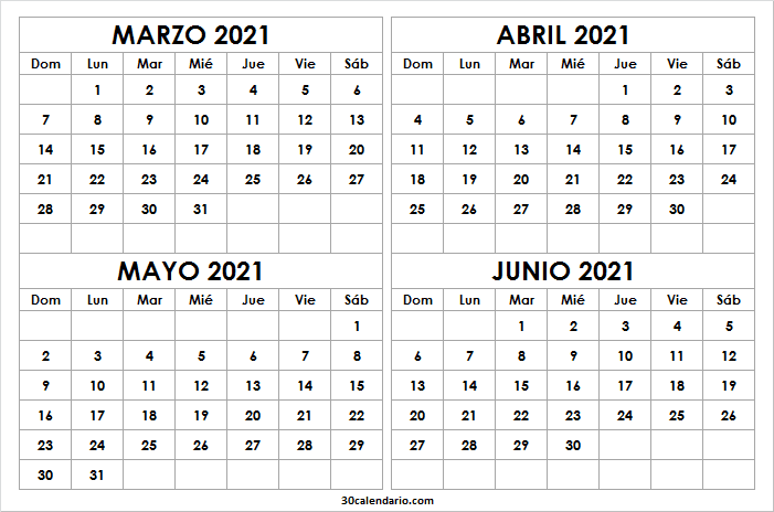 Calendario Marzo a Junio 2021 En Colombia