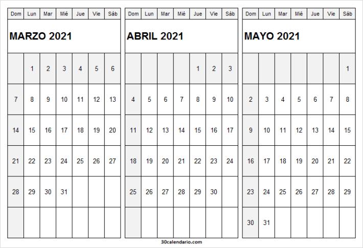 Calendario Marzo a Mayo 2021 Bonito