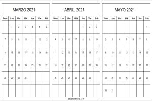 Calendario Marzo a Mayo 2021 En Chile
