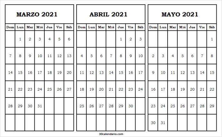 Calendario Marzo a Mayo 2021 Tumblr