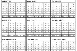 Calendario Marzo a Noviembre 2021 Chile