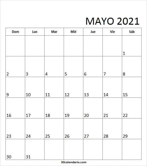 Calendario Mayo 2021 Bonito