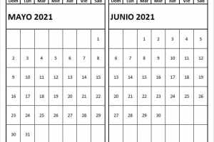 Calendario Mayo Junio 2021 Bonito