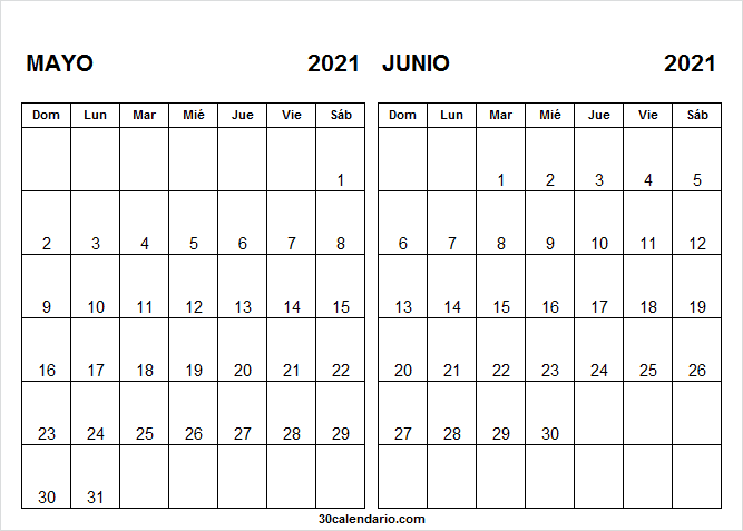Calendario Mayo Junio 2021 En Chile