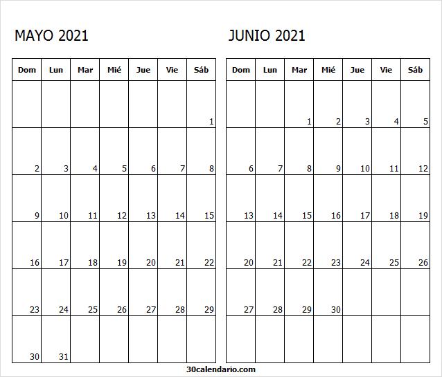 Calendario Mayo Junio 2021 Para Imprimir Bonitos