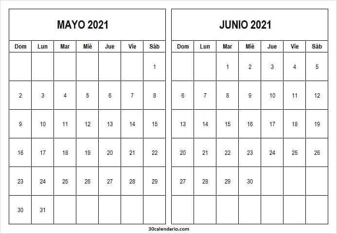 Calendario Mayo Junio 2021 Word
