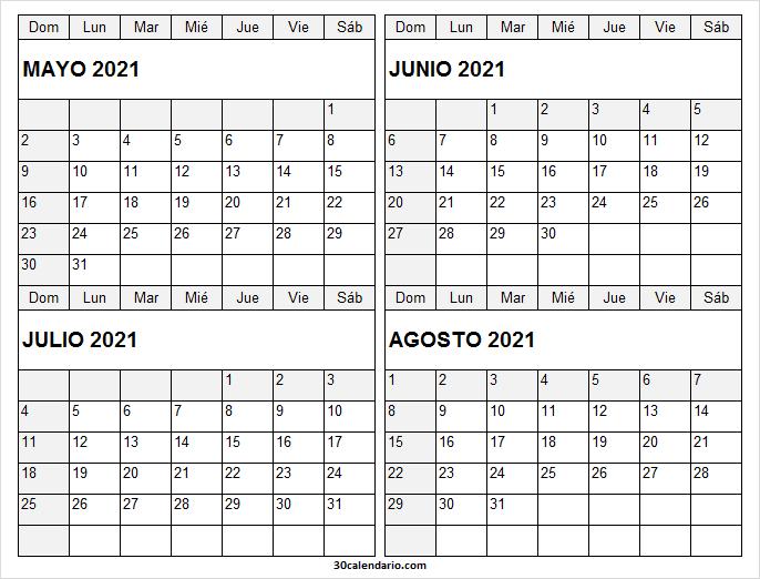 Calendario Mayo a Agosto 2021 Tumblr