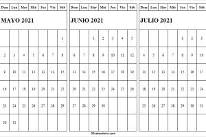 Calendario Mayo a Julio 2021 Del