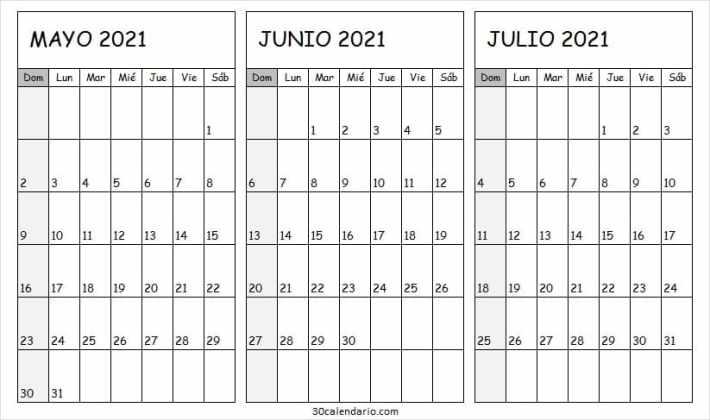 Calendario Mayo a Julio 2021 En Word