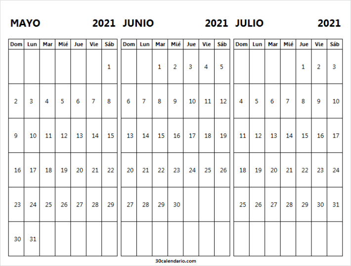 Calendario Mayo a Julio 2021 Para Imprimir