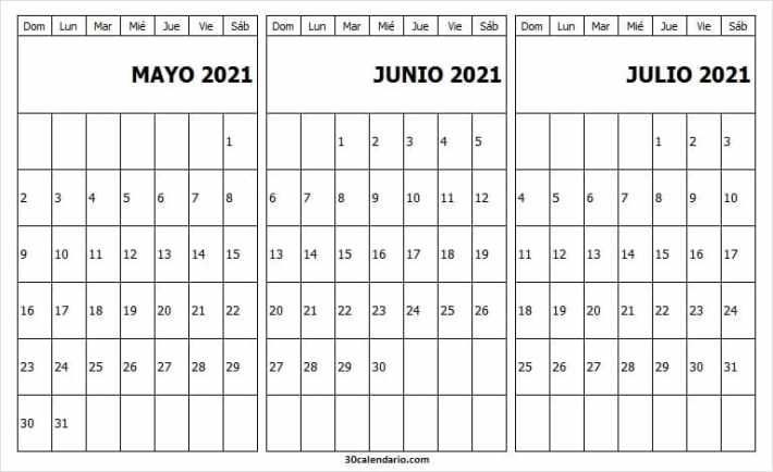 Calendario Mayo a Julio 2021 Tumblr