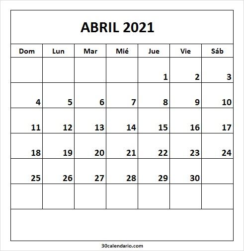 Calendario Mensual De Abril 2021