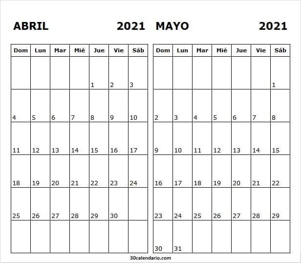 Calendario Mensual De Abril Mayo 2021