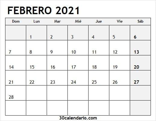 Calendario Mes De Febrero 2021 Colombia