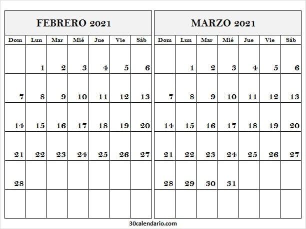 Calendario Mes De Febrero Marzo 2021 Colombia