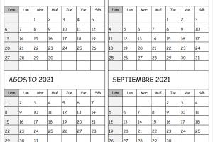 Calendario Mes Junio A Septiembre 2021 Con Festivos