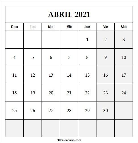 Calendario Semanal Abril 2021