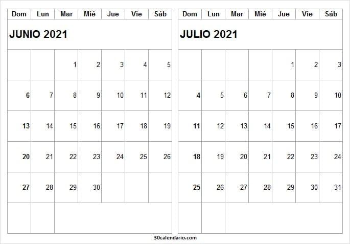 Imagen Calendario Mes De Junio Julio 2021