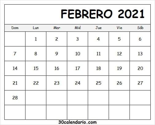 Imagen De Calendario Febrero 2021