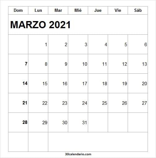 Imagen De Calendario Marzo 2021