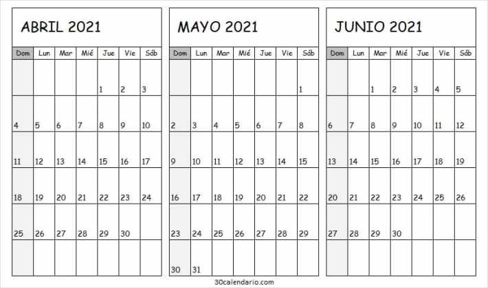 Imprimir Calendario Mes Abril a Junio 2021