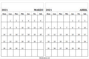 Marzo Abril 2021 Calendario En Ingles