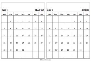 Marzo Abril 2021 Calendario En Ingles