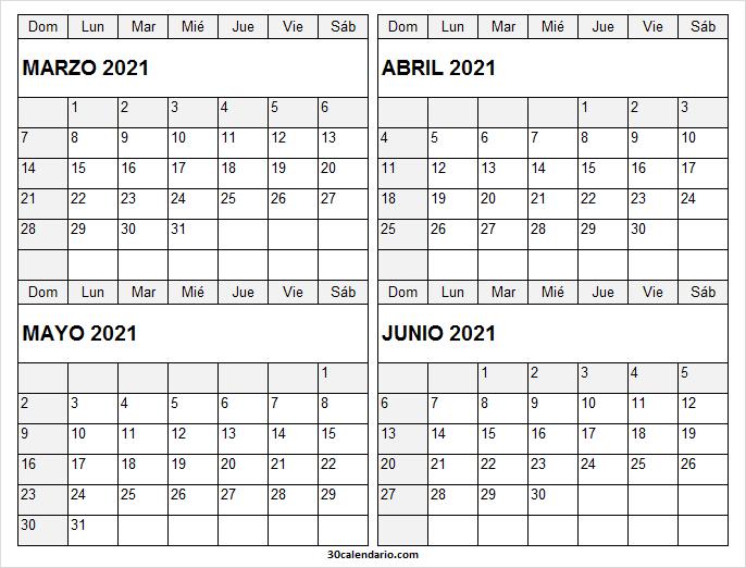 Marzo a Junio Calendario 2021