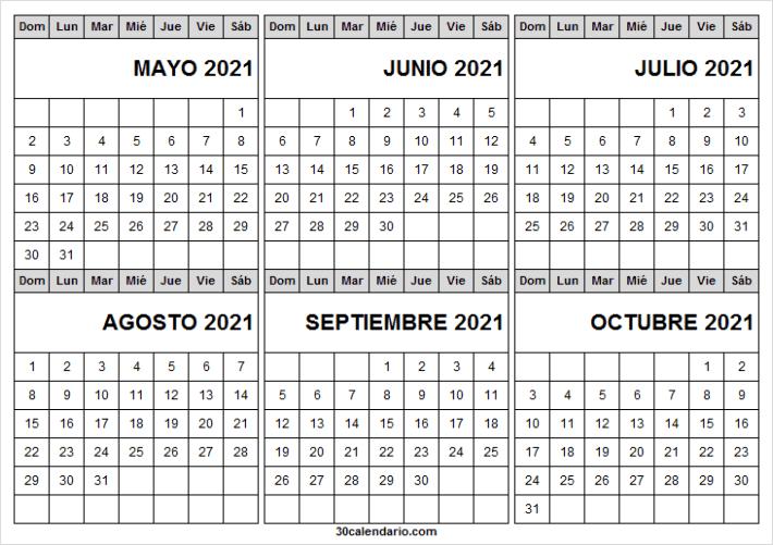 Mayo a Octubre 2021 Calendario En Blanco