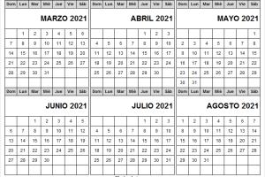 Mes De Marzo a Agosto Calendario 2021