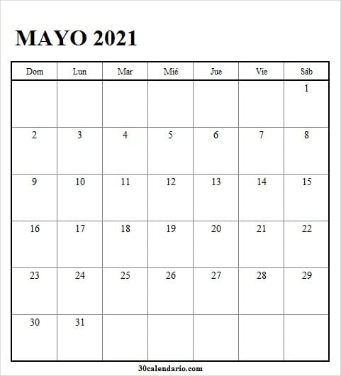 Mes De Mayo Calendario 2021