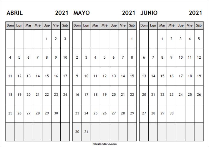 Ver Calendario Abril a Junio 2021