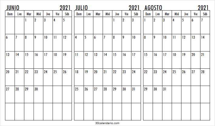 Ver Calendario Junio a Agosto 2021