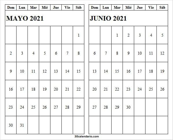 Ver Calendario Mayo Junio 2021