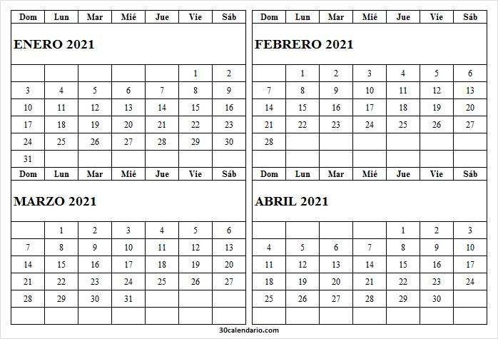 2021 Calendario Enero a Abril