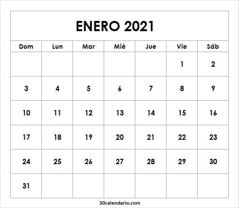 Calendario De Enero De 2021 Para Completar