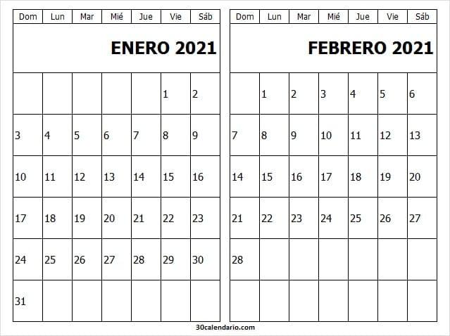Calendario En Blanco Enero Febrero 2021 Word