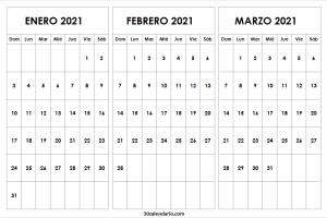 Calendario En Blanco Enero a Marzo 2021 Word
