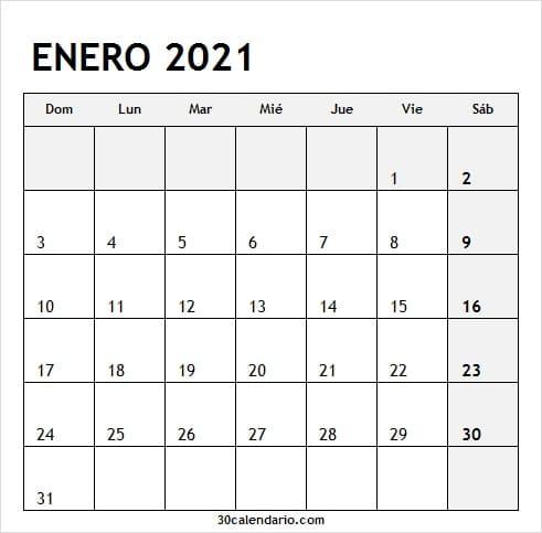 Calendario Enero 2021 Blanco Y Negro